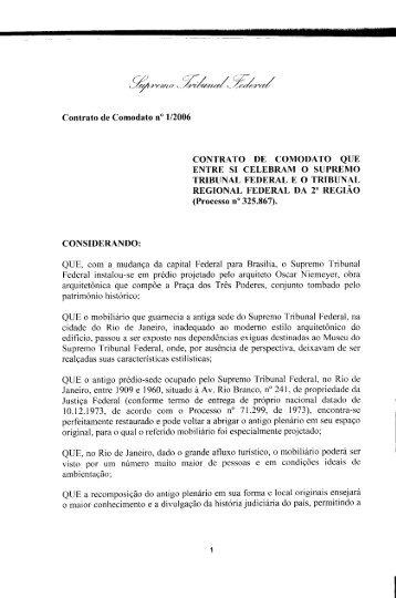 Contrato de Comodato entre o Supremo Tribunal Federal