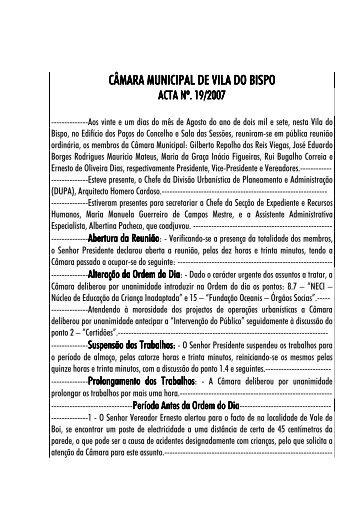 ACTA Nº. 19 - Câmara Municipal de Vila do Bispo