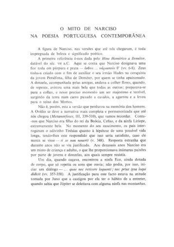 o mito de narciso na poesia portuguesa contemporânea