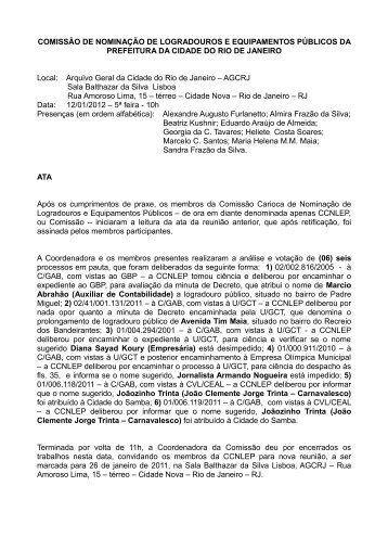 Ata da Reunião - Portal da Prefeitura da Cidade do Rio de Janeiro