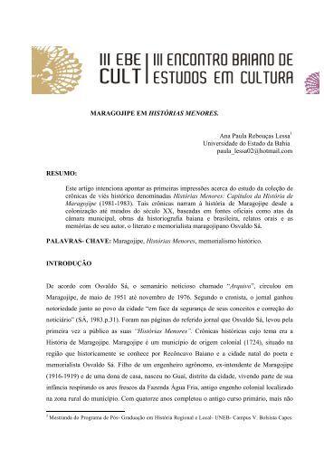 MARAGOJIPE EM HISTÓRIAS MENORES. Ana Paula ... - UFRB