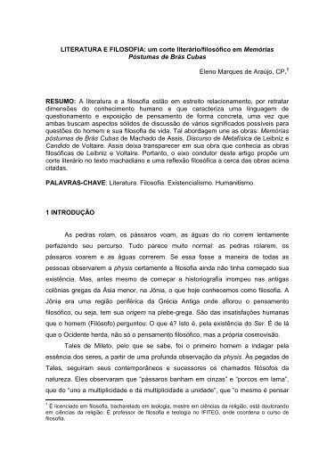 Literatura e filosofia - UEG - São Luís de Montes Belos