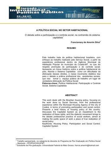 A POLÍTICA SOCIAL NO SETOR HABITACIONAL O debate sobre a ...