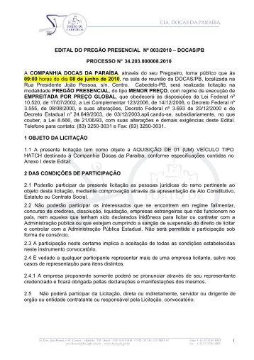 Edital do Pregão Presencial 003-2010 - carro hatch - Docas Paraíba