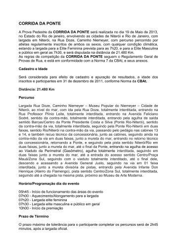REGULAMENTO CORRIDA DA PONTE 2013 DOC - Webrun