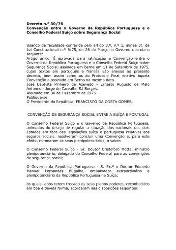 Convenção entre o Governo da República Portuguesa eo Conselho ...