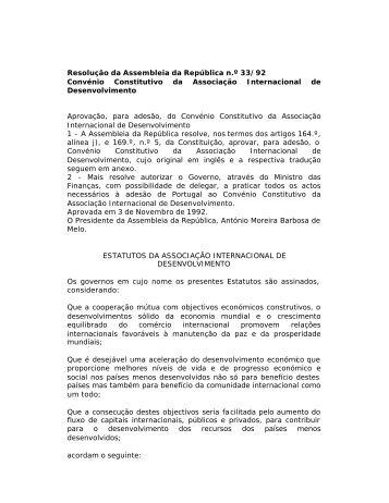 Convénio Constitutivo da Associação Internacional de ...