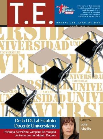 De la LOU al Estatuto Docente Universitario - CCOO