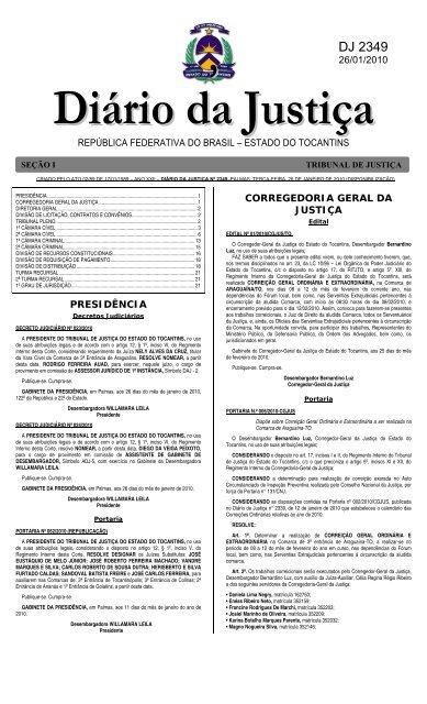 Diário da Justiça - Tribunal de Justica do Tocantins