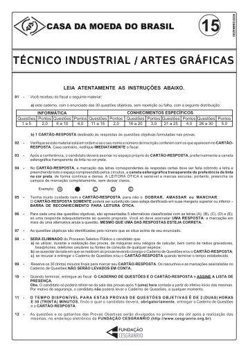 Técnico Industrial / Artes Gráficas - Casa da Moeda do Brasil