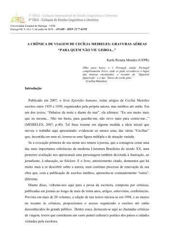 A CRÔNICA DE VIAGEM DE CECÍLIA MEIRELES ... - Cielli