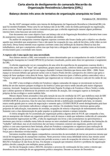 Carta aberta de desligamento do camarada Macarrão da ...
