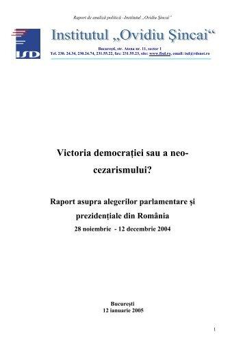 Raport alegeri generale 2004 - Fundatia Institutul Social Democrat ...
