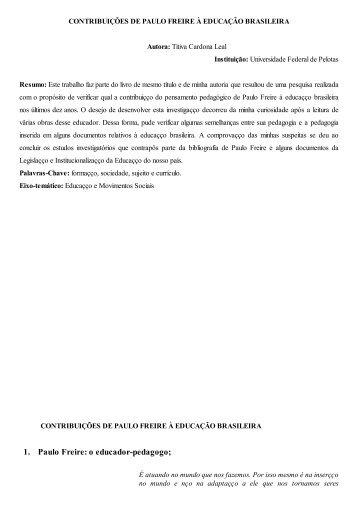 contribuições de paulo freire à educação brasileira - Portal ANPED ...