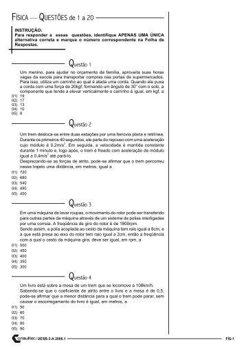 Exame unificado de fisica