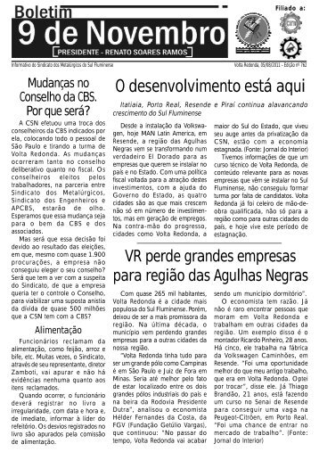 Boletim 762 - Sindicato dos Metalúrgicos da Região Sul Fluminense