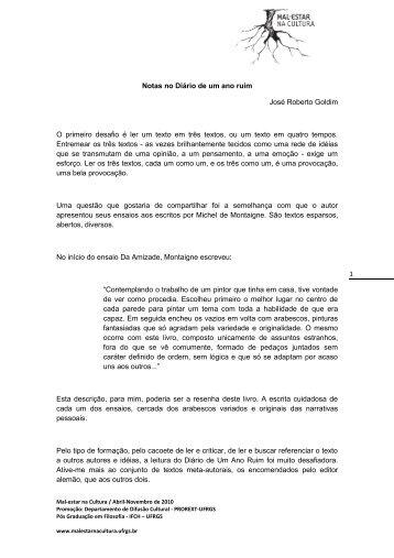 1 Notas no Diário de um ano ruim José Roberto Goldim O primeiro ...