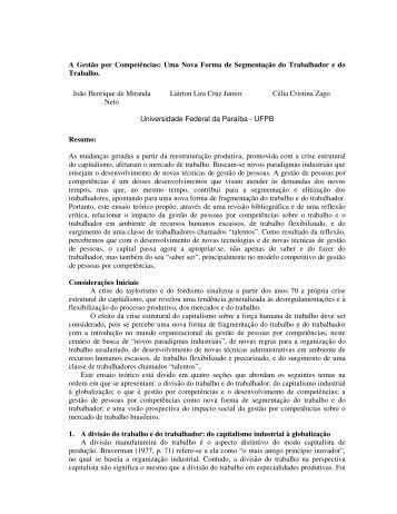 A Gestão por Competências: Uma Nova Forma de ... - aedb