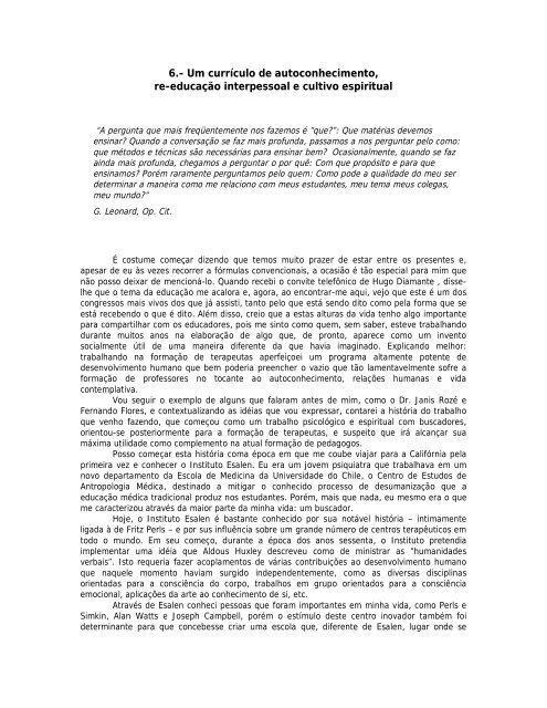 6.- Um currículo de autoconhecimento, re ... - Claudio Naranjo
