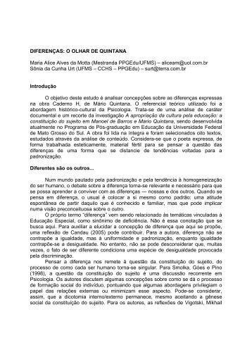 DIFERENÇAS: O OLHAR DE QUINTANA Maria Alice Alves da Motta ...