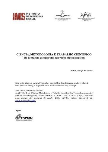 CIÊNCIA, METODOLOGIA E TRABALHO CIENTÍFICO (ou ... - UERJ