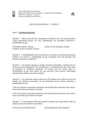 LISTA DE EXERCÍCIOS 3 – 2ª PROVA Parte I – Distribuição ... - ICEB