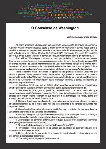 O Consenso de Washington - Faculdades Santa Cruz