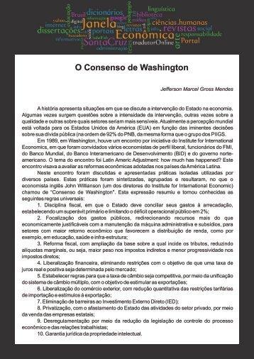 O Consenso de Washington - Faculdades Santa Cruz