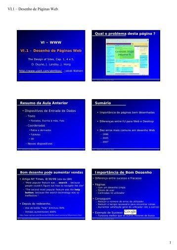 1 VI.1 – Desenho de Páginas Web