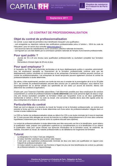 Le Contrat De Professionnalisation Objet Du Cci Paris