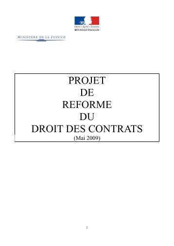 projet de reforme du droit des contrats - droit wester-ouisse