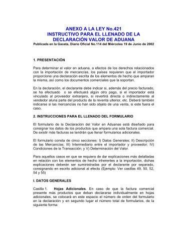 Instructivo para el Llenado de la Declaracion Valor de Aduana