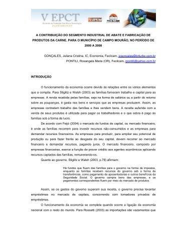 a contribuição do segmento industrial de abate e fabricação de ...