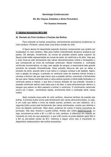Semiologia Cardiovascular B3, B4, Cliques, Estalidos e Atrito ... - UFF