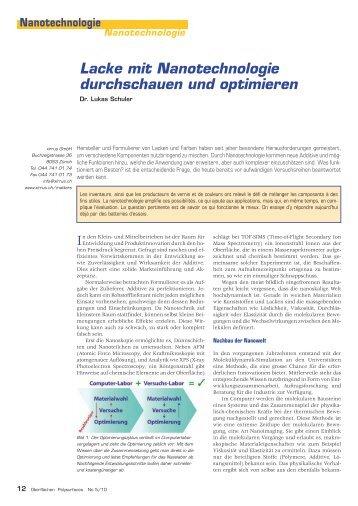 Lacke mit Nanotechnologie durchschauen und ... - xirrus GmbH