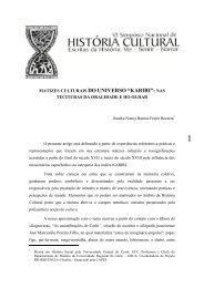 """matizes culturais do universo """"kariri"""" - GT Nacional de História Cultural"""