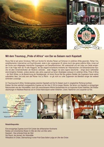 """Mit dem Traumzug """"Pride of Africa"""" von Dar es ... - Zumstein Reisen"""