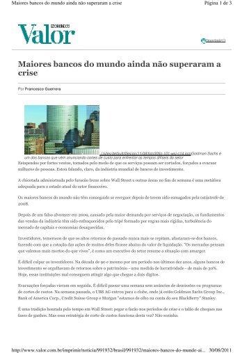 Maiores bancos do mundo ainda não superaram a crise - ESPM