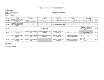 HORÁRIO DE AULAS – 1º SEMESTRE DE 2013 Instituto: INESP ...