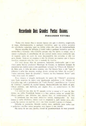Recordando dois grandes poetas baianos - Fernandes Távora