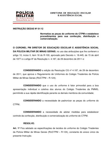 c897a8578 Catalago Uniformes CTPM - Polícia Militar de Minas Gerais