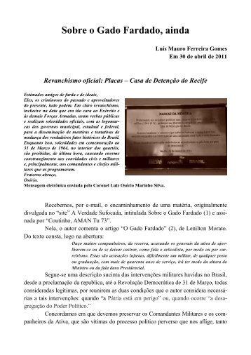 Sobre o Gado Fardado, ainda - Academia Brasileira de Defesa