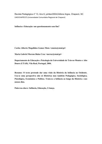 Infância e Educação - Carlosmota.info