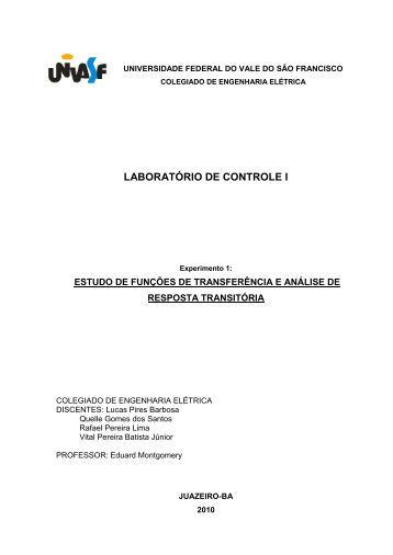 Prática 1 do Laboratório de Controle I - Univasf