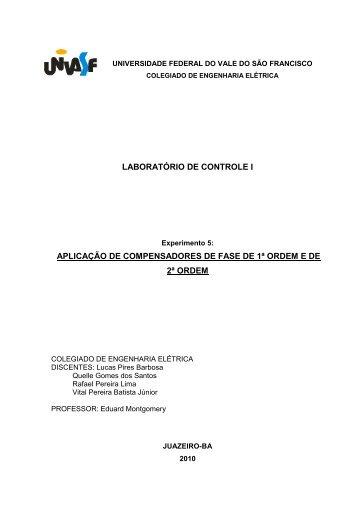 LABORATÓRIO DE CONTROLE I APLICAÇÃO DE ... - Univasf