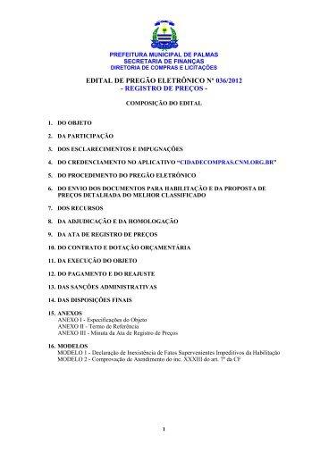 edital de pregão eletrônico nº 036/2012 - registro de preços