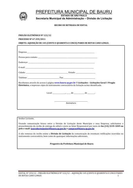 Edital: 359/2012 - Prefeitura Municipal de Bauru