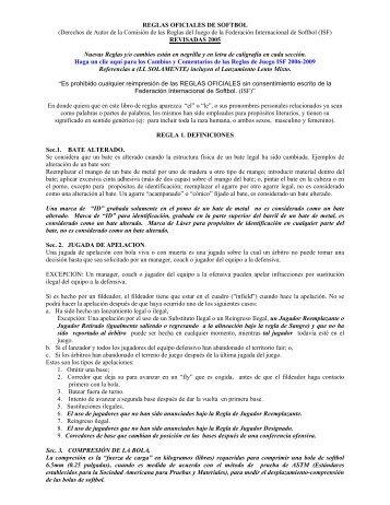 Para ver las reglas completas de softbol revisadas por (ISF) - FEDOSA