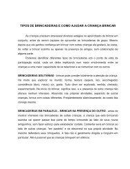 TIPOS DE BRINCADEIRAS E COMO AJUDAR A CRIANÇA BRINCAR