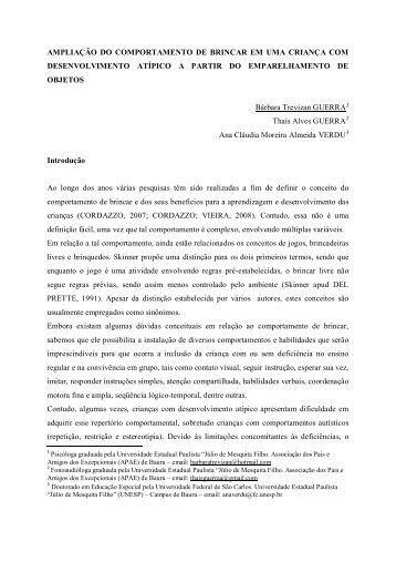 AMPLIAÇÃO DO COMPORTAMENTO DE BRINCAR EM UMA ...